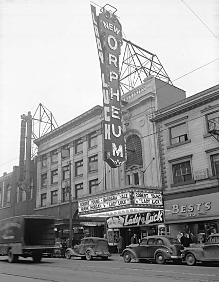 Exterior view of the Orpheum Theatre with advertising for the movie 'Lady Luck' ca 1946 - CVA 1184-2304