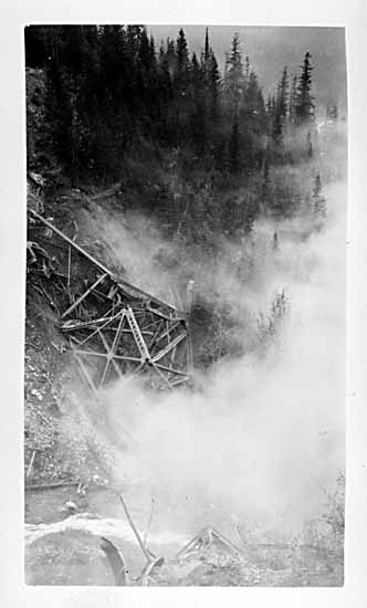 VPL #1766, unknown, 1929, old CPR Surprise Creek Bridge demolished by dynamite