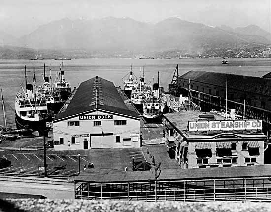 VPL #3070, Leonard Frank, 1935, ships docked at the Union Steamship Company docks